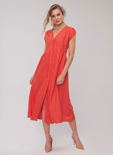 People By Fabrika Kol Detaylı Elbise Kırmızı